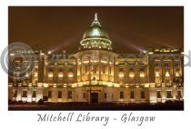 Glasgow Mitchell Library at Night Postcard (H A6 LY)