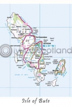 Bute Map Postcard (V A6 LY)