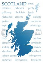 Scotland Place Names Silhouette Postcard (H A6 LY)