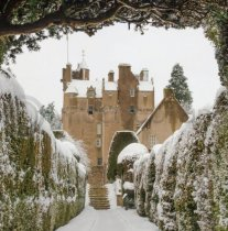 Winter Crathes Castle in Snow Colour Photo Greeting Card(LY)