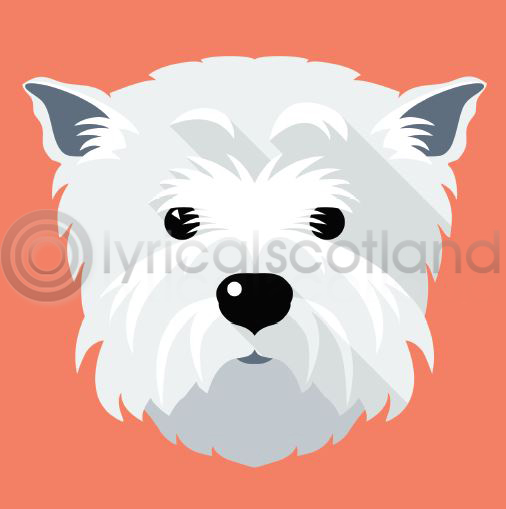 #westie Icon Colour Art Greetings Card (Net 70p)
