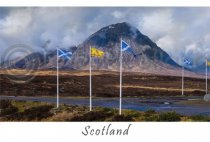 Buachaille Etive Mor & Flags - Scotland Postcard (H A6 LY)