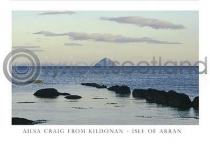 Ailsa Craig from Kildonan Shore Postcard (HA6)