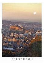 Moonrise over Edinbugh Postcard (V A6 LY)