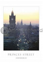 Princes Street At Dusk Postcard (VA6)