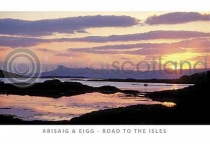 Sunset Over Eigg, Road to the Isles Postcard (HA6)