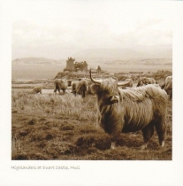 Highlanders At Duart Castle Sepia Greetings Card