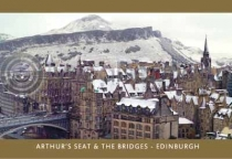 Bridges and Arthurs Seat in the Snow Postcard (HA6C)