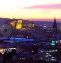 Edinburgh Castle at Dusk Colour Photo Greetings Card