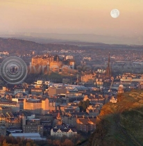 Moonrise Edinburgh Colour Photo Greetings Card (LY)