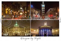 Glasgow by Night Composite Postcard (H A6 LY)